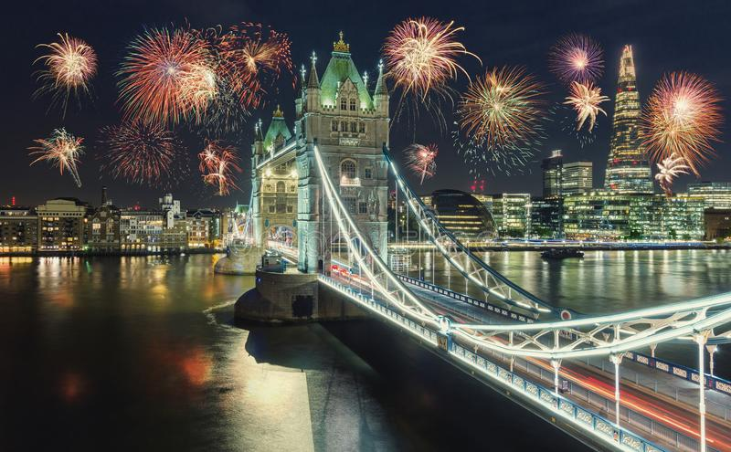 New Year fireworks in London at the Tower bridge with firework, royalty free stock photo