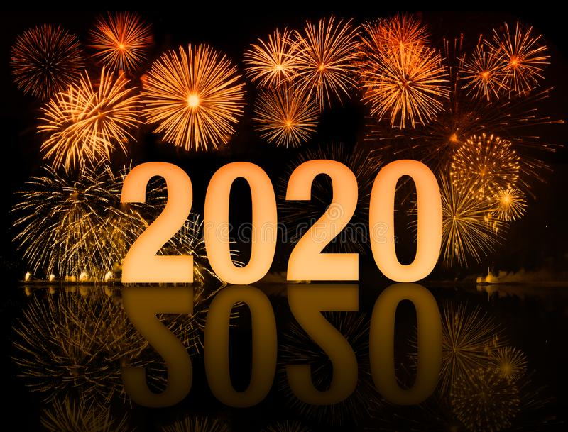 New year 2020 fireworks. Orange 2020 happy new year fireworks stock image