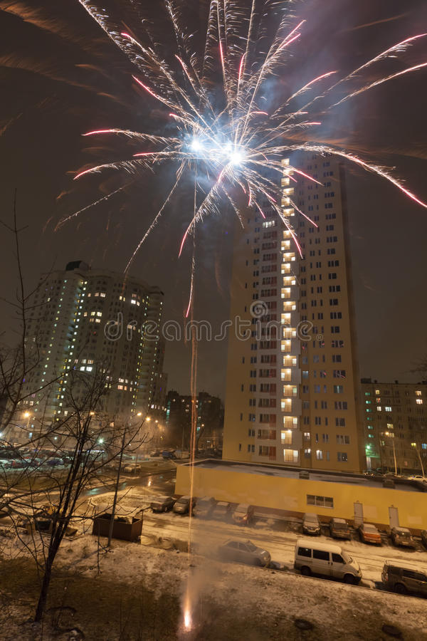 Download New Year Fireworks In Residential Area Of City Stock Image - Image: 28730421