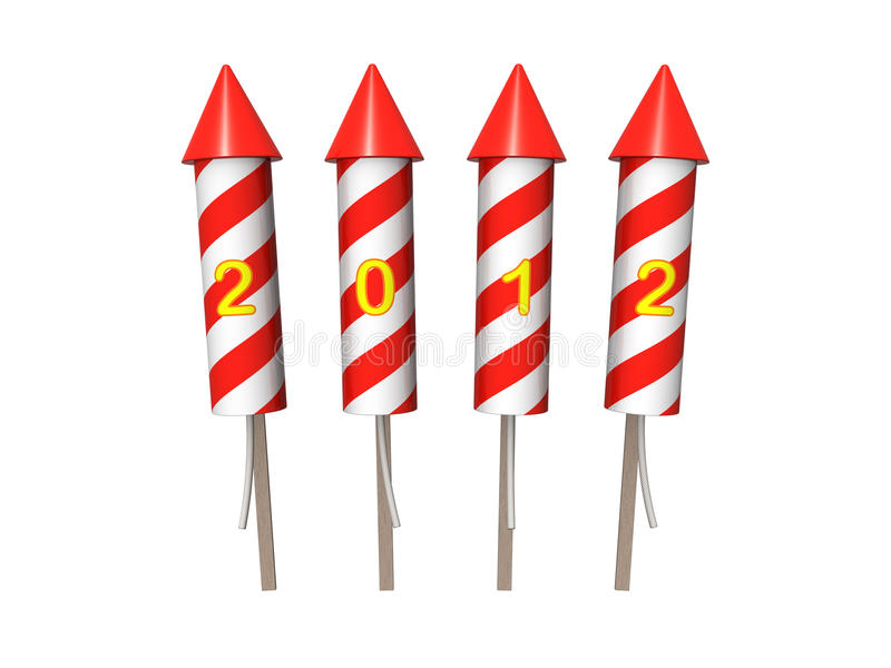 New Year fireworks rockets. Isolated on the white. Background royalty free illustration