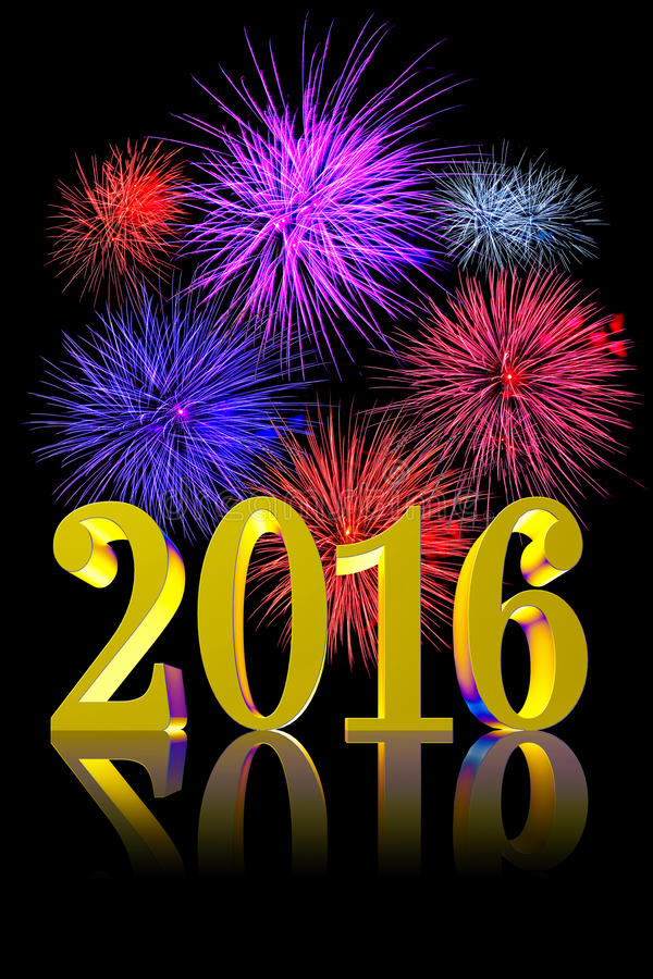 New Year 2016 Fireworks. Shining golden 3D text New Year 2015 on black background with real fireworks for New Years eve party invitation graphic or greeting card vector illustration