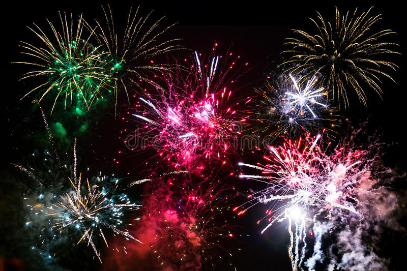 Download New Year Fireworks On The Sky Stock Photo - Image: 33270492