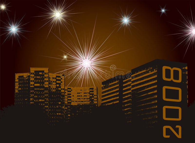New year fireworks urban. Fireworks display for the new year set against a urban development stock illustration