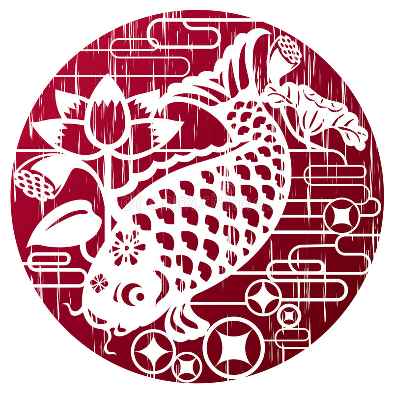 New year fish in grunge style for celebrating CNY stock illustration