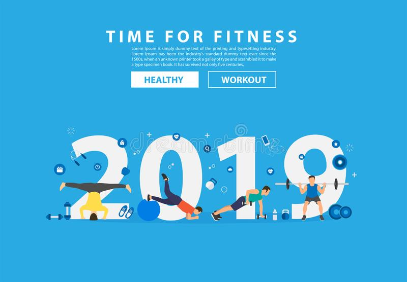 2019 new year fitness concept workout with equipment. Vector illustration modern layout template flat design royalty free illustration