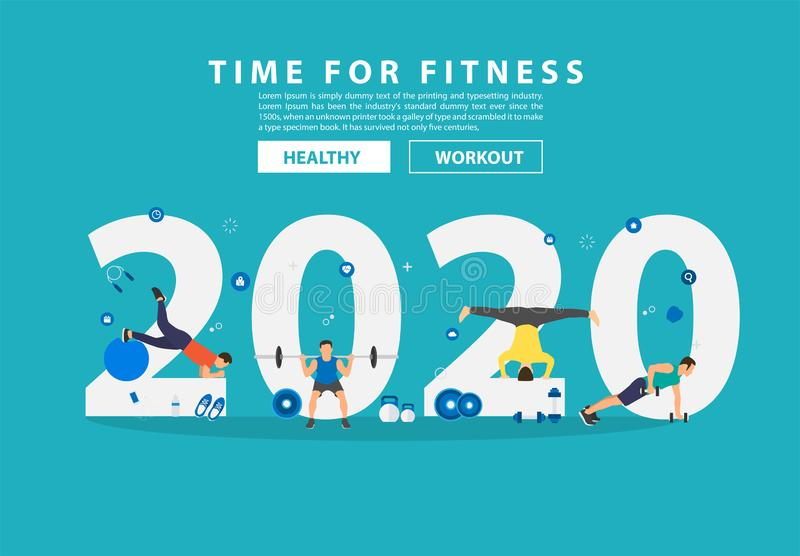 2020 new year fitness ideas concept man workout gym equipment with flat big letters. Vector illustration modern layout template design royalty free illustration