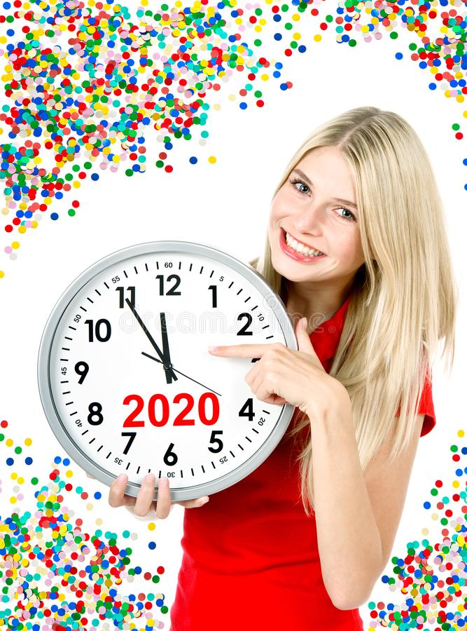 New Year 2020 five to twelve big clock party decoration royalty free stock images