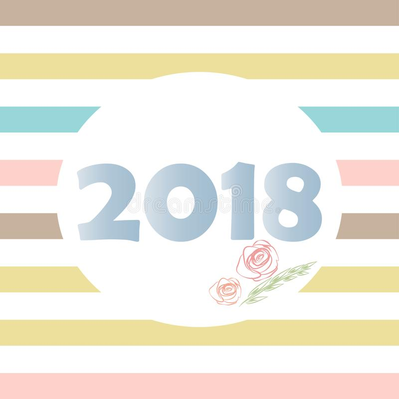 2018 new year floral colorful striped background poster card diary cover backdrop wallpaper royalty free illustration