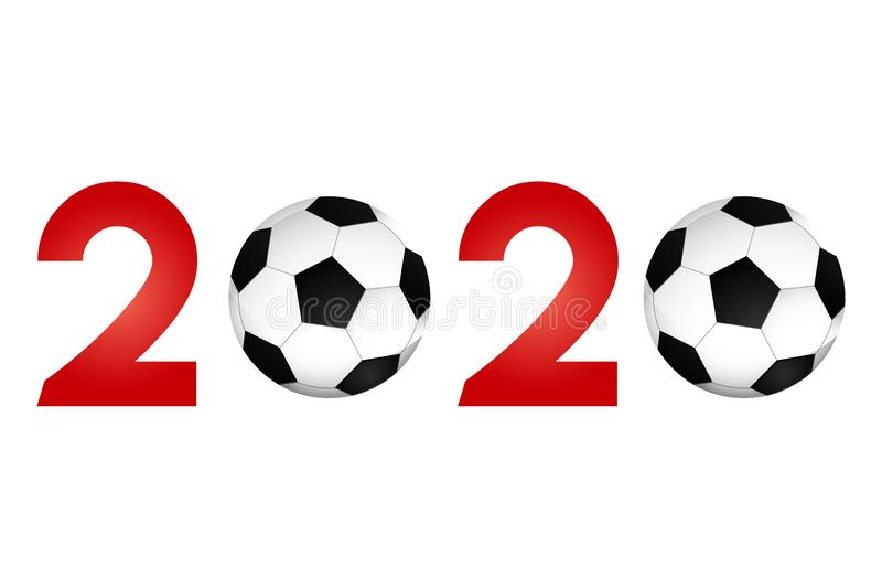 New Year 2020 with football icon vector illustration