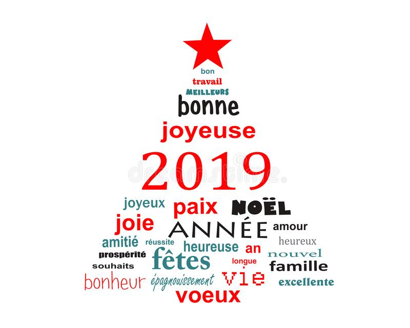 2019 new year french word cloud greeting card in the shape of a christmas tree vector illustration