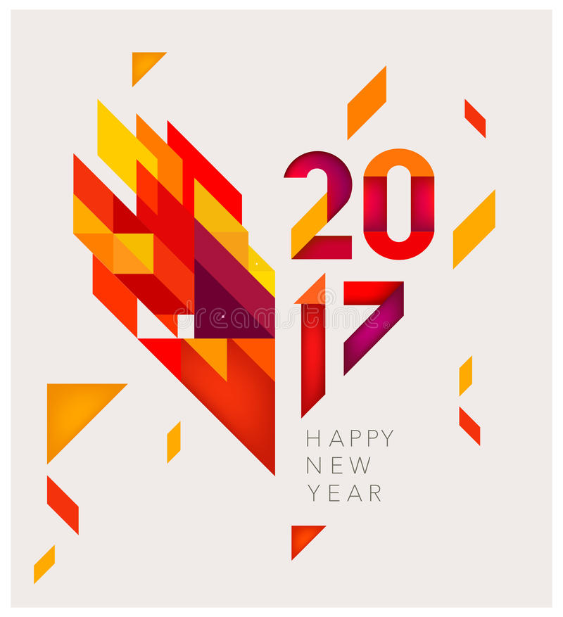 New Year 2017 Geometric abstract background. Minimalistic Vector abstract background. Red and yellow geometric shapes. New Year 2017. To design a calendar stock illustration