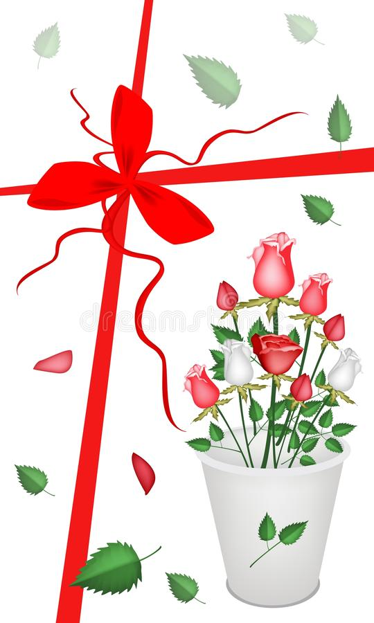Download New Year Gift Card With A Lovely Roses Bouquet Royalty Free Stock Image - Image: 33996416