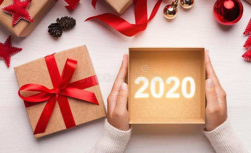 New Year 2020 gifts concept stock image