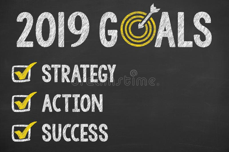 New Year 2019 Goals on Chalkboard stock photos