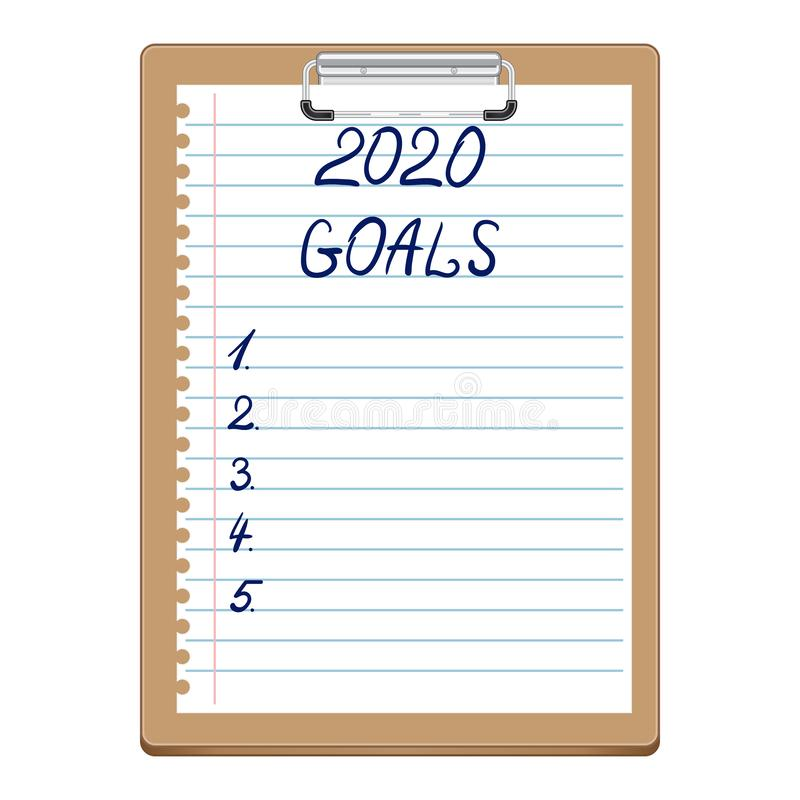 2020 New Year, Goals. Clipboard with white sheet. Text on paper in blue, written by hand. Lettering. 2020 GOALS stock illustration
