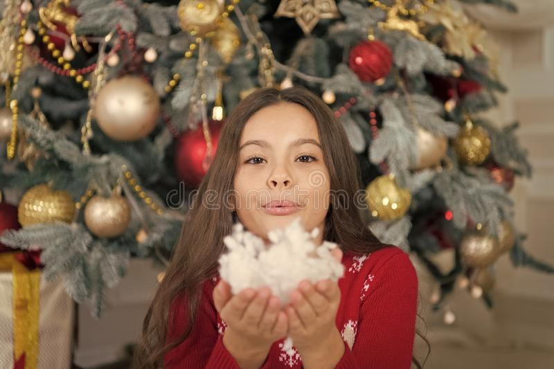 New year new goals. Cute little child girl with xmas present. happy little girl celebrate winter holiday. christmas time. Happy new year. delivery christmas royalty free stock photo