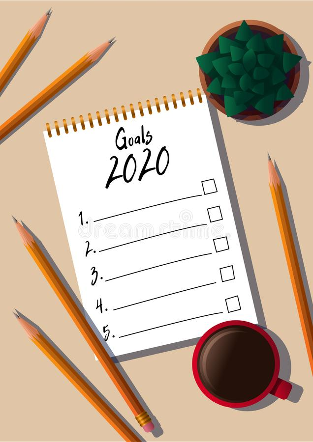 New year goals list. 2020 resolutions text on notepad. Wish list. Action plan. Pencils, mug of coffee and houseplant royalty free illustration