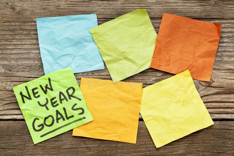 Download New Year goals note stock photo. Image of grain, wood - 36301914