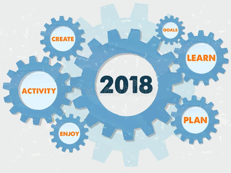 New year 2018 and business conception words in grunge gears info royalty free stock photo