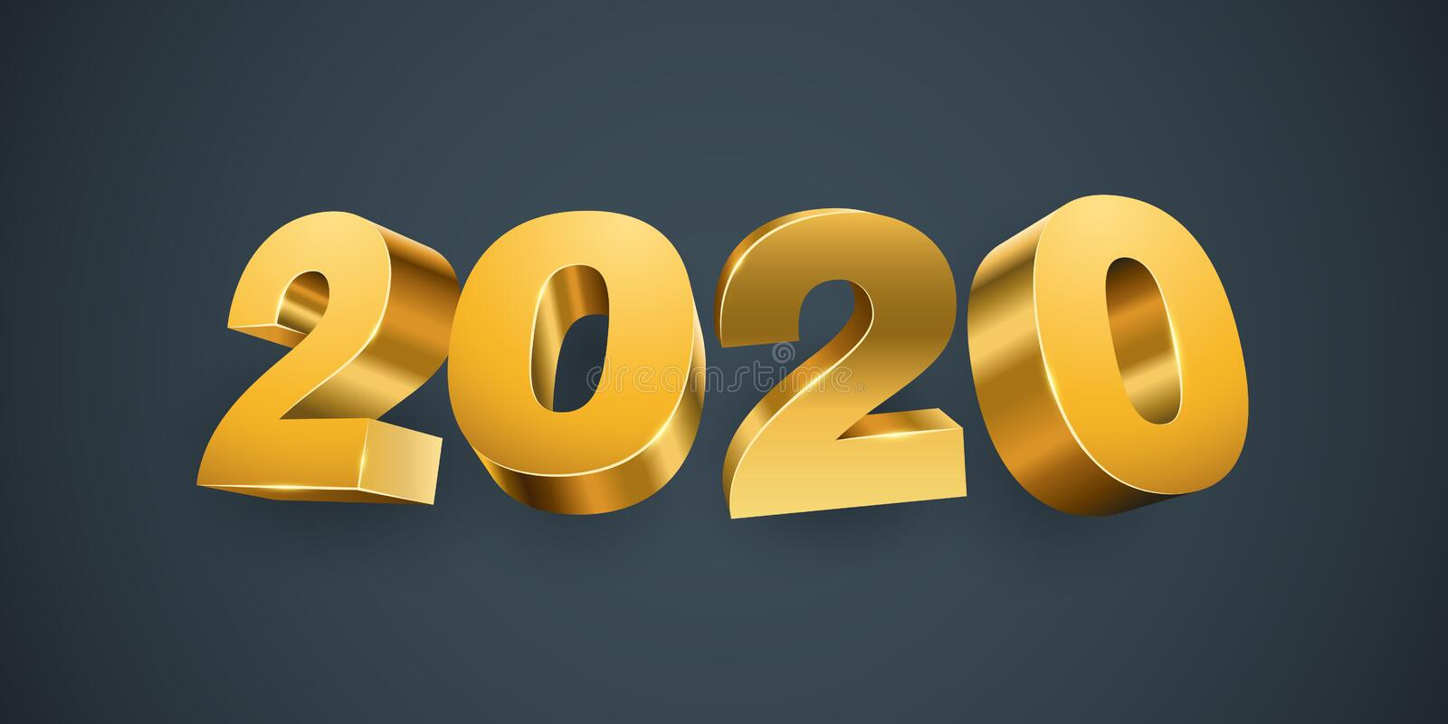 New Year 2020 Gold Numbers stock illustration