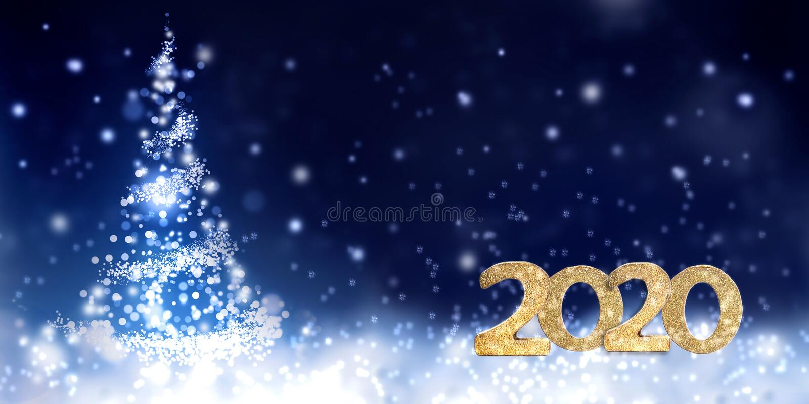 New year golden figures 2019 on abstract night stock image