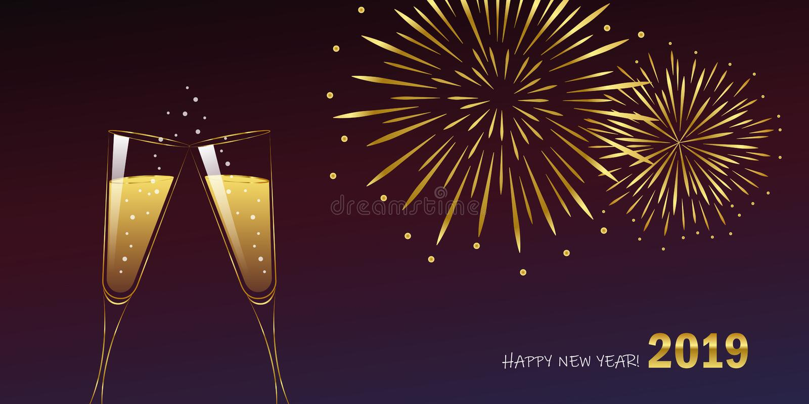 New Year golden fireworks and champagne glasses stock illustration