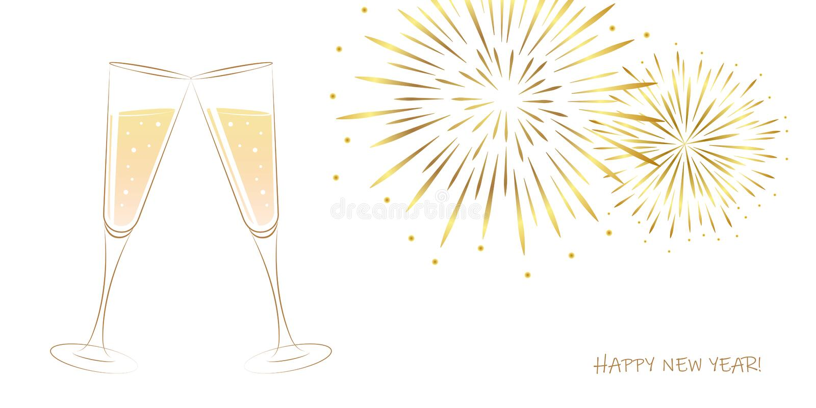 New Year golden fireworks and champagne glasses on a white background royalty free illustration