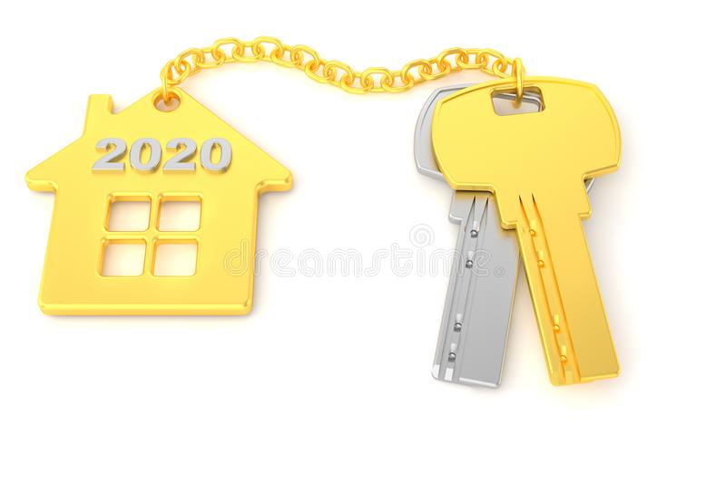 2020. New Year. Golden house keys with golden trinket house isolated on white background. Real estate. 3d rendering. new home vector illustration