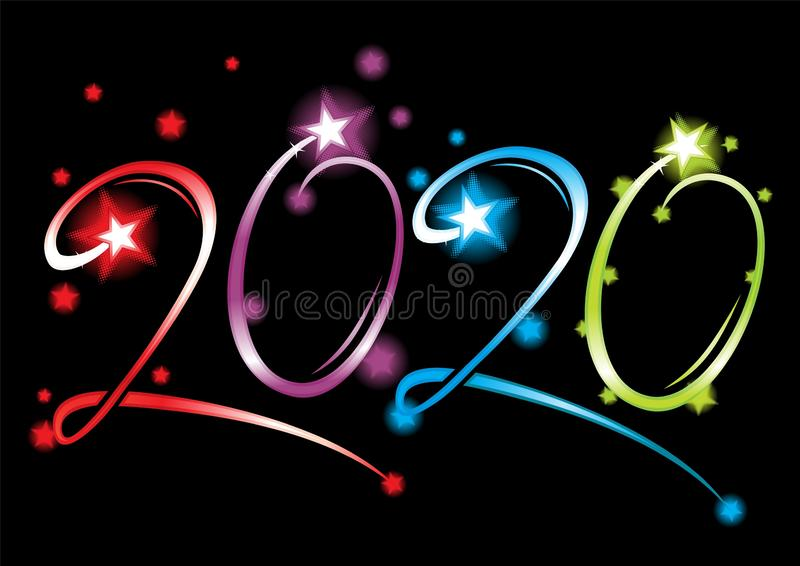 New Year 2020 grand event stock illustration