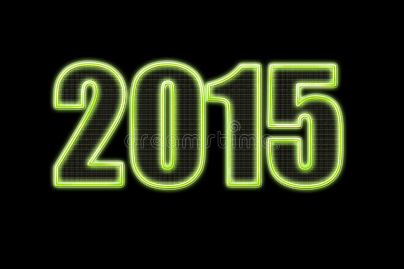 New year 2015 green neon lights on black royalty free stock images