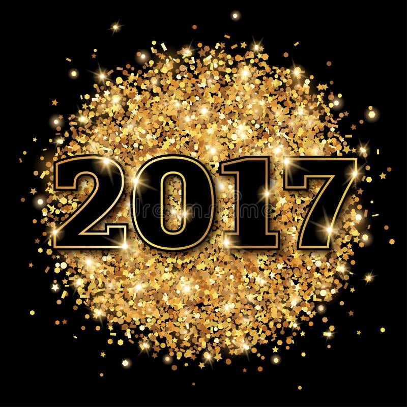 New Year 2017 Greeting Card Black Background. royalty free illustration