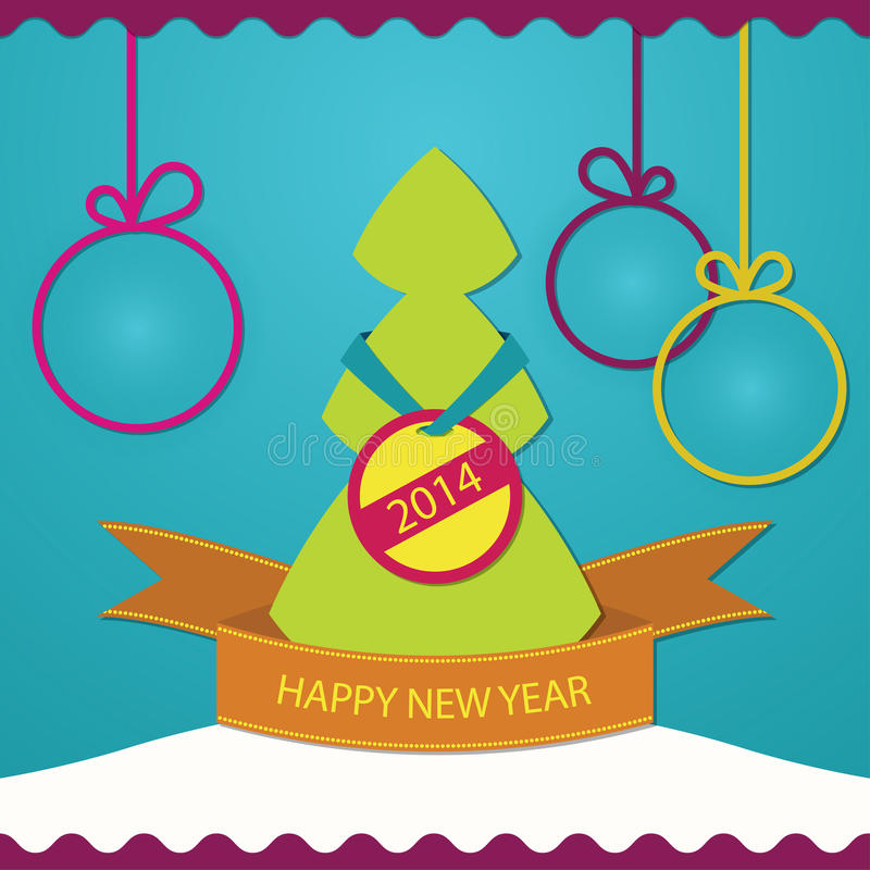 New Year Greeting Card Christmas Tree Royalty Free Stock Photo