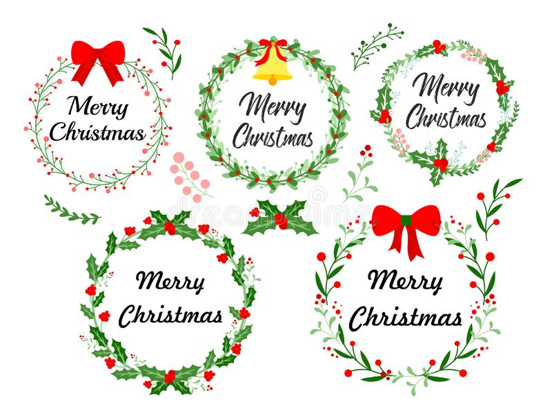 New Year greeting card. Christmas wreath set with winter floral elements. Vector illustration in flat style on white stock illustration