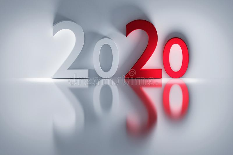 2020 new year numbers red and white royalty free illustration