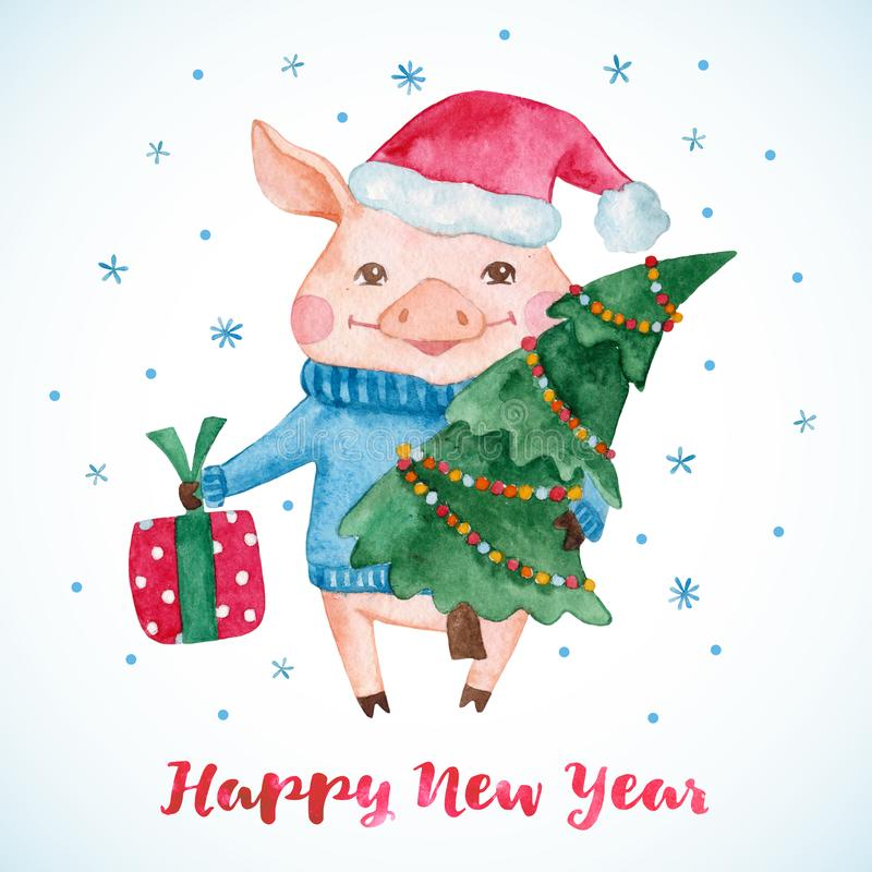 New Year greeting card with cute Pig in Santa`s hat with Christmas tree and gift. stock illustration