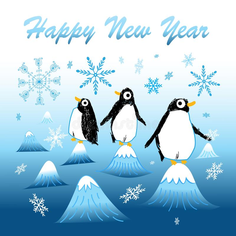 New year greeting card with funny penguins stock illustration