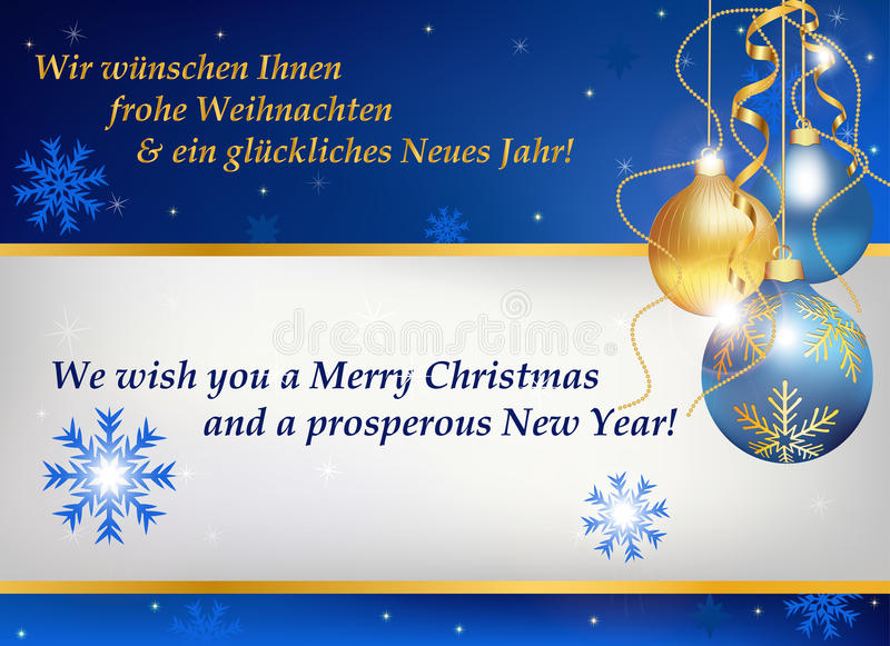 New year greeting card in german and english stock vector business christmas and new year greeting card in two languages german and english contains snowflakes and christmas baubles m4hsunfo