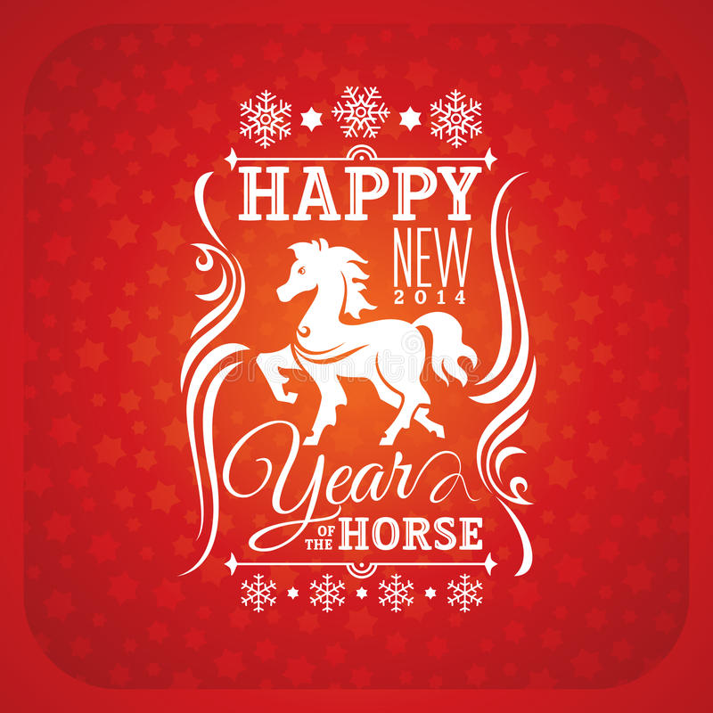 Download New Year Greeting Card With Horse Stock Vector - Image: 34618121