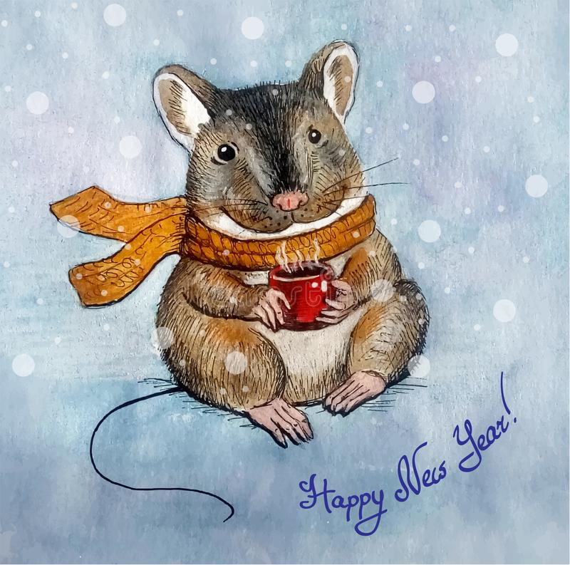 New Year greeting card with a mouse character stock photography