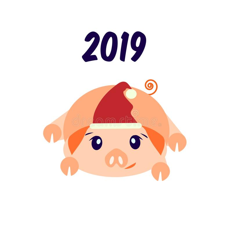 New Year 2019 greeting card with a pig. The year of the pig. Vector image isolated on white background. The pig sees off. Says goodbye. 2020 year. Piggy in the stock illustration