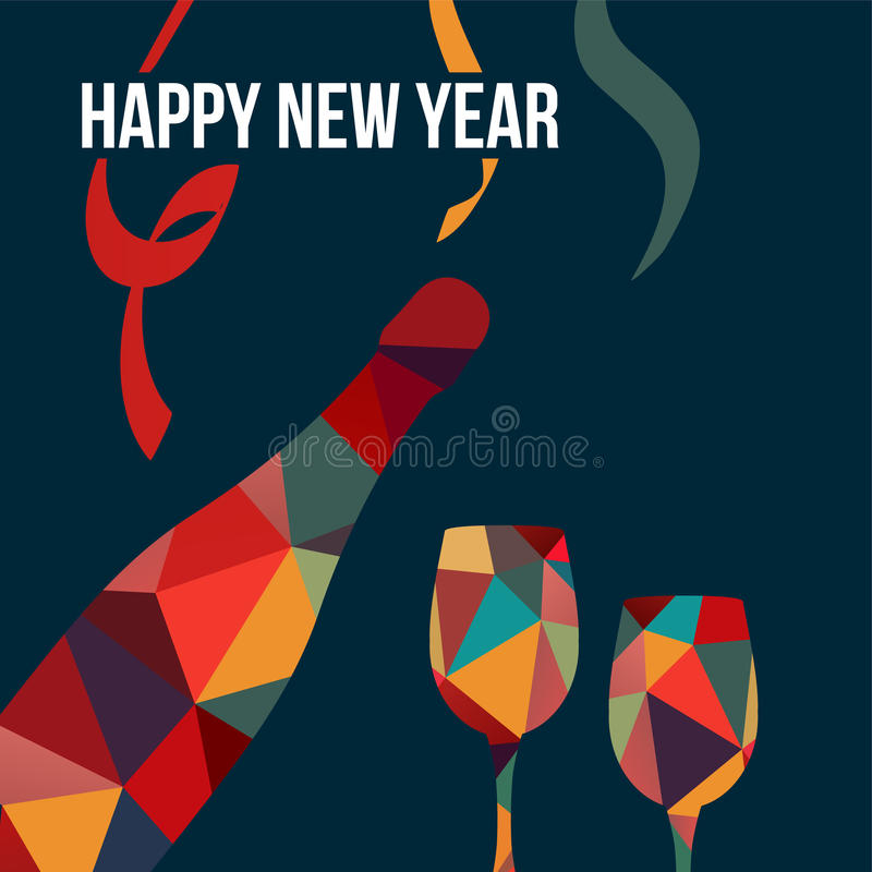 New year greeting card, polygon bottle of wine and glasse royalty free illustration