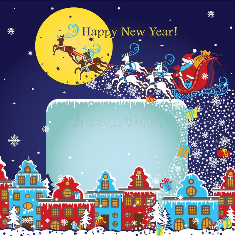 New Year greeting card.Santa Claus coming to City.Vector stock illustration