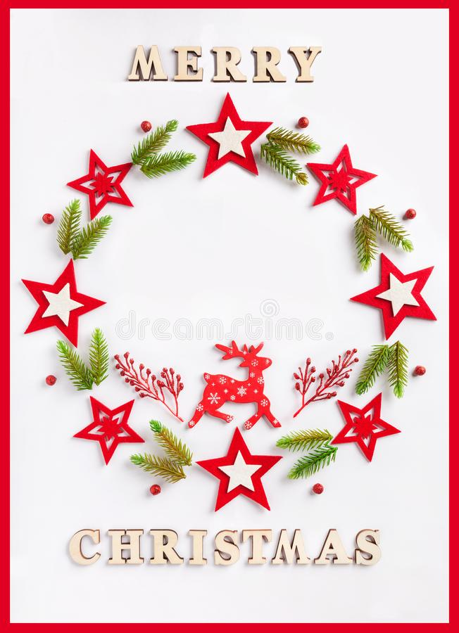 New Year greeting card on white paper with an inscription Merry Christmas royalty free stock photos