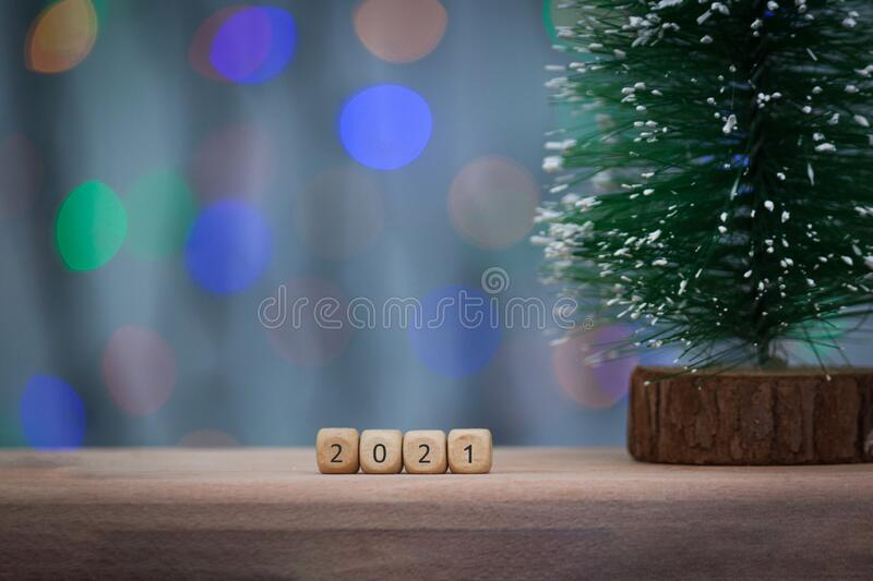 2021 New Year Greeting Card. 2020 Wooden Cubes On Wooden ...