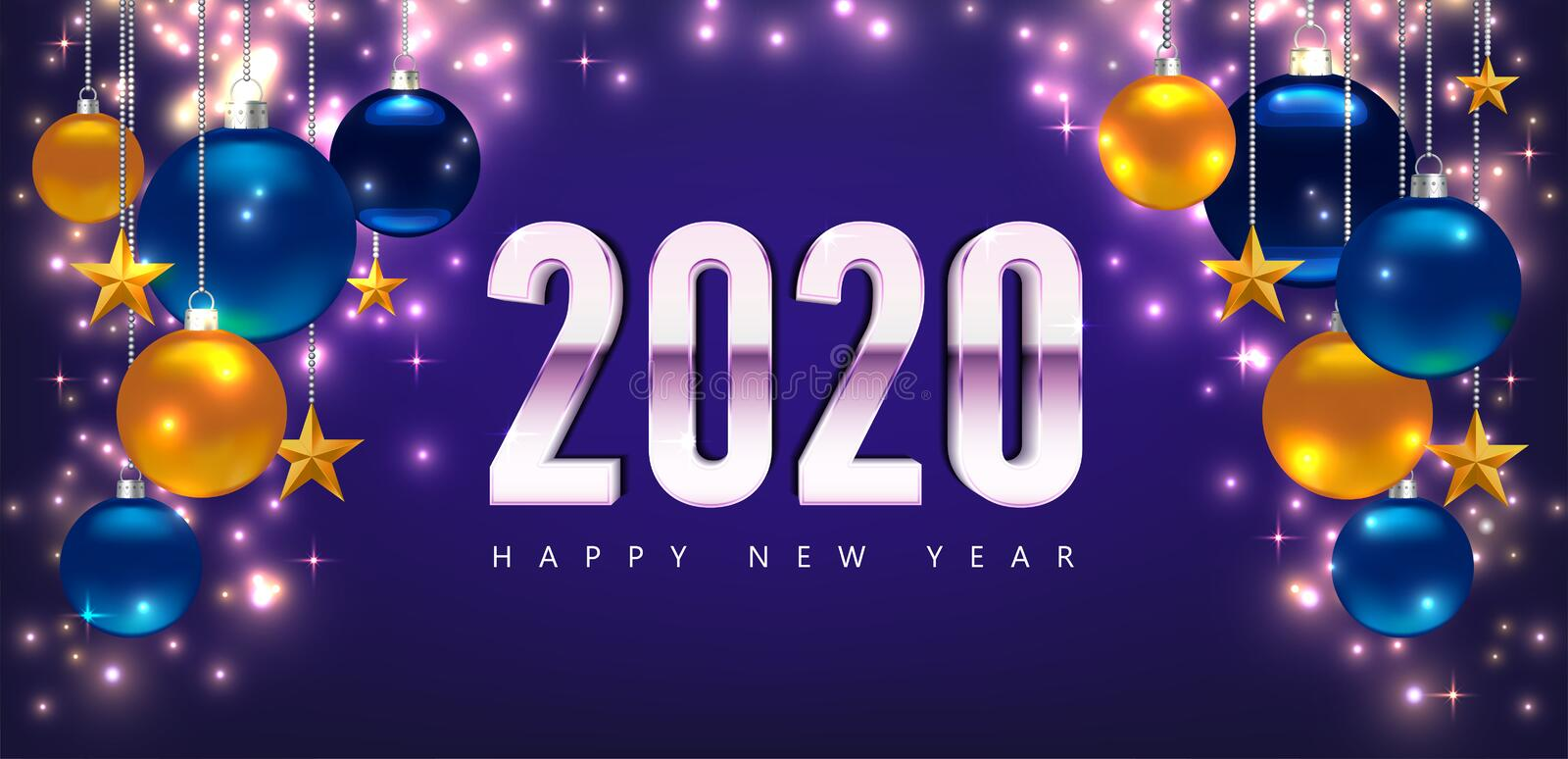 New Year 2020 greeting cards. Magic template Happy New Year. Template for Card, Flyer, poster, invitation, banner vector illustration