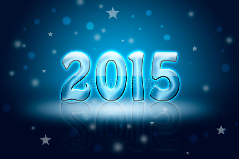 New Year 2015. Greeting Christmas card (dark blue background). Glare and shine vector illustration