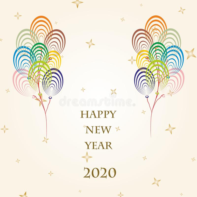 New Year Greetings for 2020 with colorful balloons flying on a gold background with gold stars and the word Happy New Year 2020 vector illustration