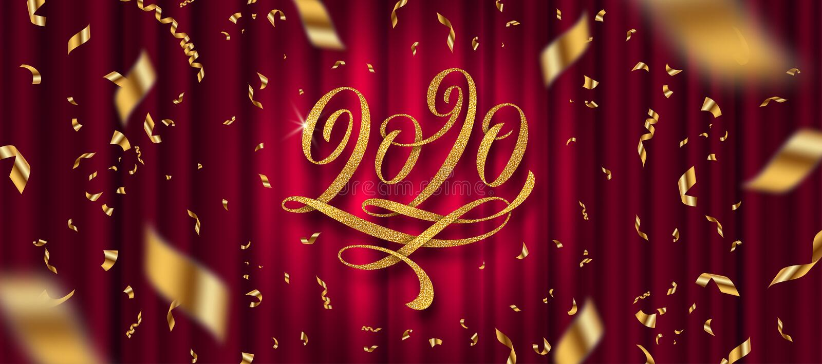 2020 New Year greeting design. Glitter gold flourishes calligraphic 2020 year logo and golden confetti on a red curtain background. Vector illustration. Can be stock illustration