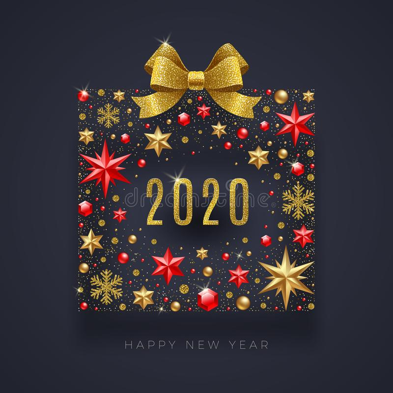 New Year 2020 greeting illustration. Abstract gift box made from stars, ruby gems, golden snowflakes, beads and glitter gold bow ribbon royalty free illustration