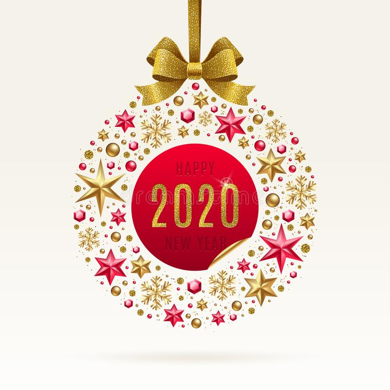 2020 New year greeting illustration. Abstract holidays bauble made from stars, ruby gems golden snowflakes, beads and glitter gold bow ribbon stock illustration